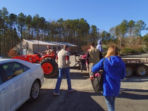 Boarding the tractor wagon