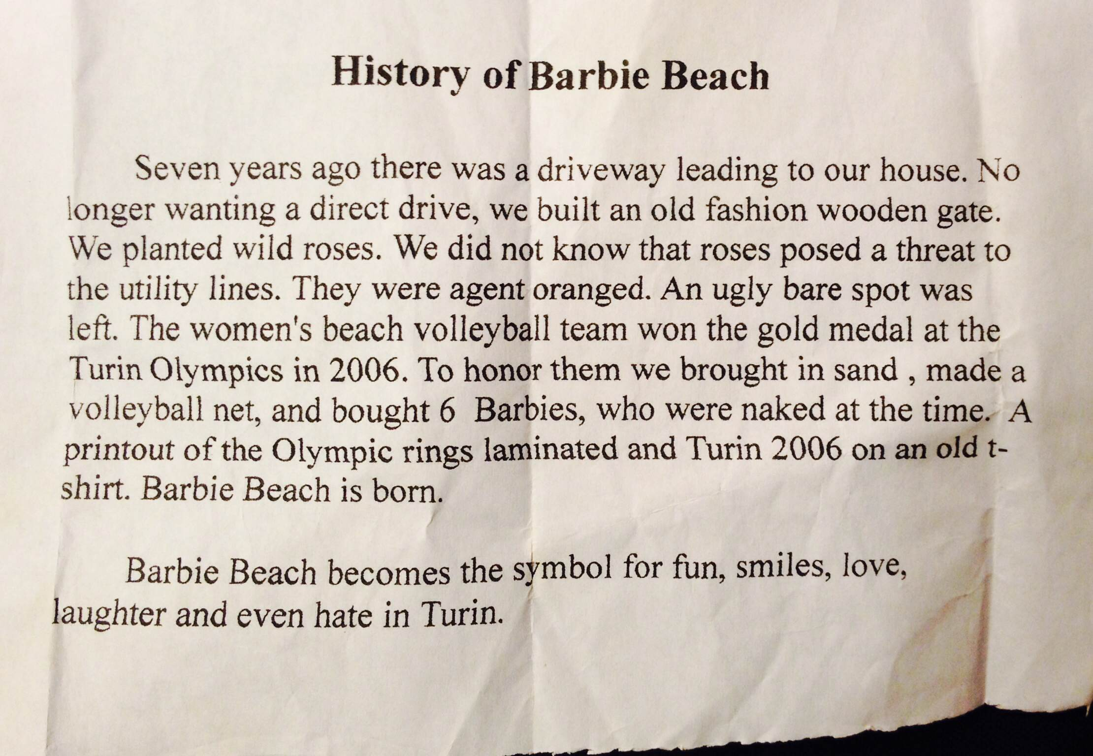 History of Barbie Beach - Handout from the owners